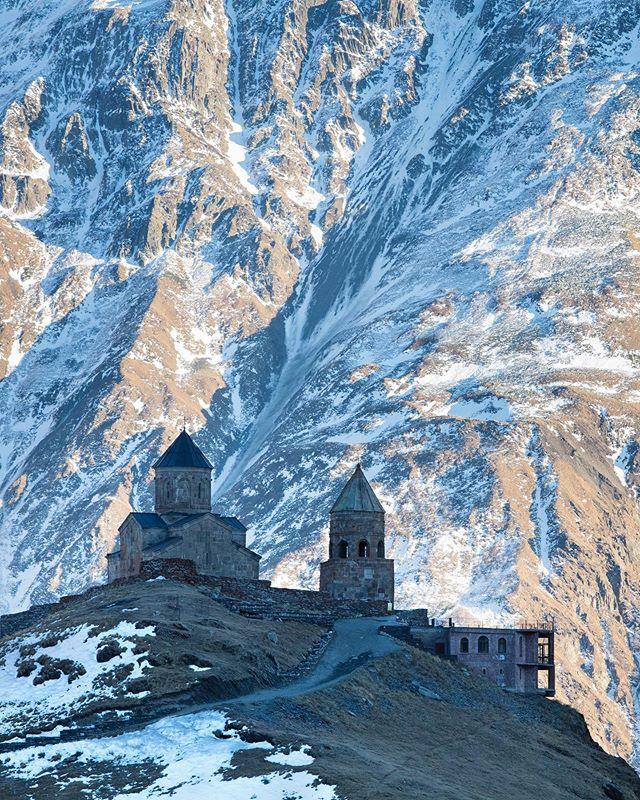 kazbegi architecture landscape georgia