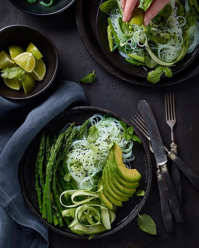 foodstyling avocado mint cutlery food hands asian lunch asparagus foodstagram lime cilantro foodgasm noodles dark yummy natural green foodphotography