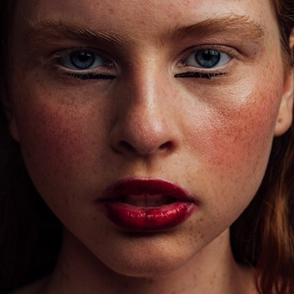 beauty mua beautyphotography 100mm redlipstick freckles