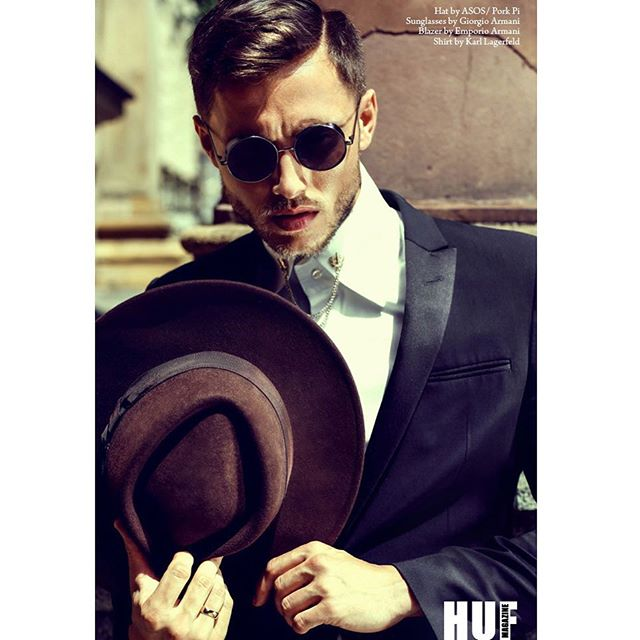 editorial gentleman shooting sunglasses magazine hat male new