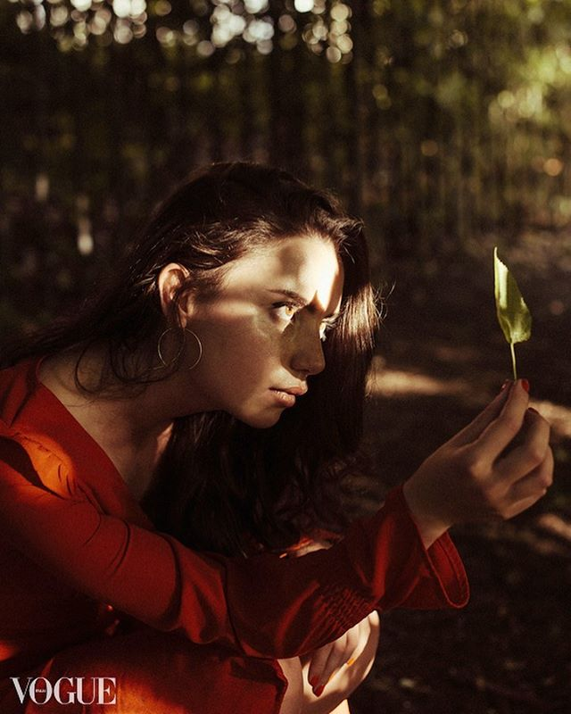 50mm shadow light nature nikon model leaf photovogue london red editorial color fashion girl