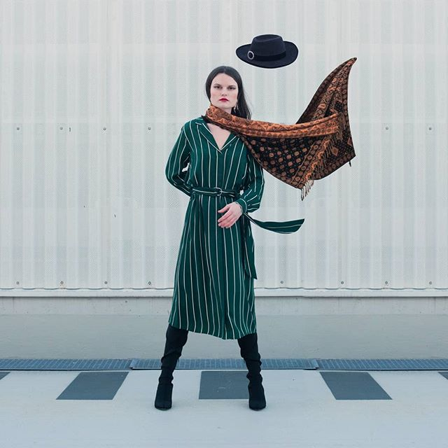 salzburg wind pattern winter visual stripes ootd green experimental fashion surreal model photography austria design studio ausblickstudio