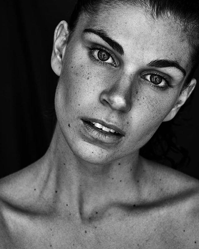 female portrait face bw eyes