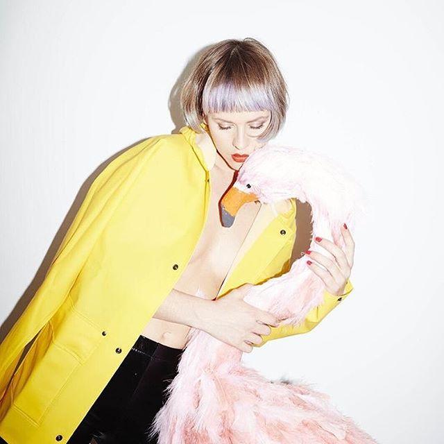 model fashion style pink yellowraincoat thegumgirl fashionphotography flamingos