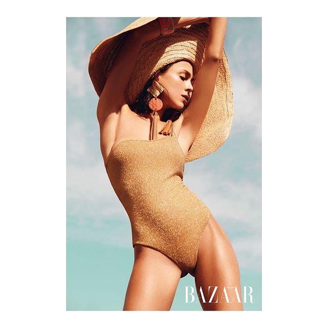 pose swimsuitmodel summer summertime fashioneditorial harpersbazaar swimsuit